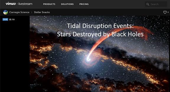 Stellar Snacks: Black Hole Tidal Disruption Events (Tom Holoein, Carnegie Observatory)