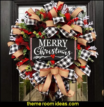 Buffalo Check Wreath Holiday Decor  modern farmhouse christmas decor rustic christmas decorating