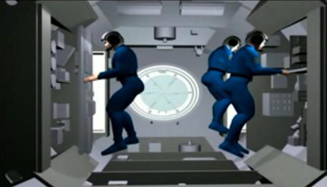 Ảnh đồ họa mô phỏng ba phi hành gia đầu tiên đang làm việc trong Trạm Không gian Thiên Cung 1. Hình ảnh: China Manned Space Engineering Office.