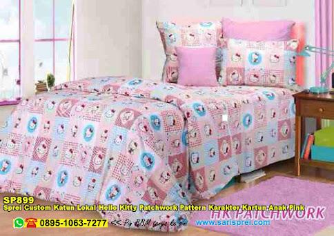 Sprei Custom Katun Lokal Hello Kitty Patchwork Pattern Karakter Kartun Anak Pink