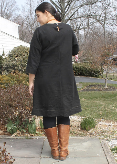 A black linen dress made using the Lisette Portfolio/Simplicity 2245 sewing pattern.