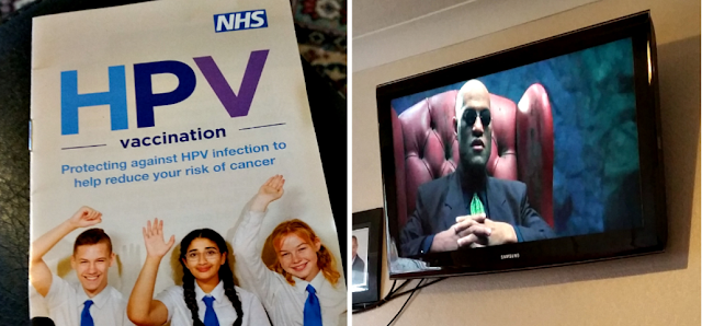 The HPV leaflet and a photo of Morpheus off the Matrix