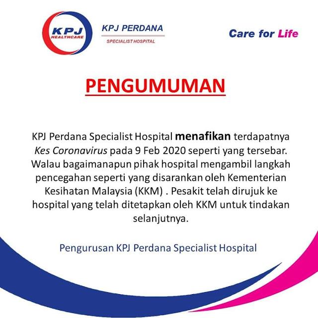 Virus coronavirus KPJ Perdana Specialist Kota Bharu