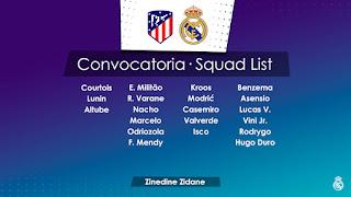 Los convocados por Zidane para el derbi en el Wanda
