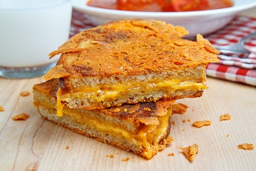 Cheese Covered Grilled Cheese Sandwich
