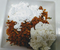 Mixing corn starch flour grated cottage cheese with Soya granules for soya protein burger recipe