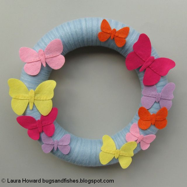 finished felt butterflies wreath