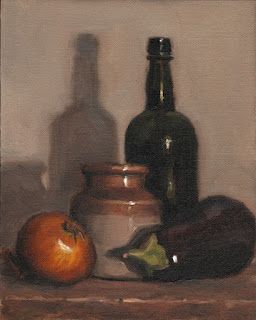 Still life oil painting of an onion and an eggplant beside an earthenware jar and a black glass bottle.