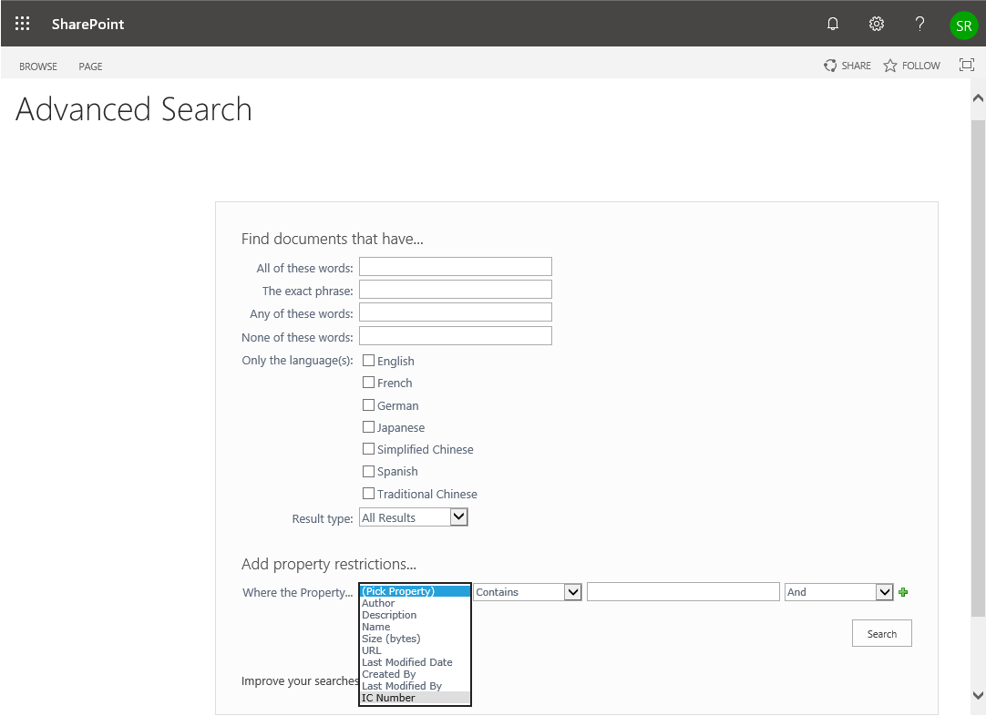 sharepoint online advanced search add property restrictions