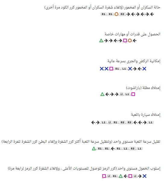 كلمات سر جراند 5 سوني 3 الجديدة صقور الإبدآع