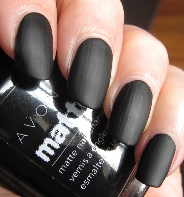 Black As Night: Glitter Is My Crack...: Nails/NOTD: Avon Matte