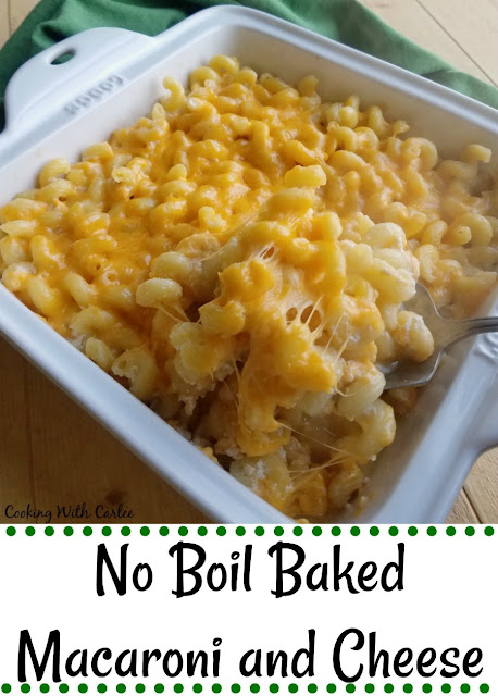 This macaroni and cheese is completely cooked in the oven. There is no boiling of the noodles first! No boil baked macaroni and cheese for the win!