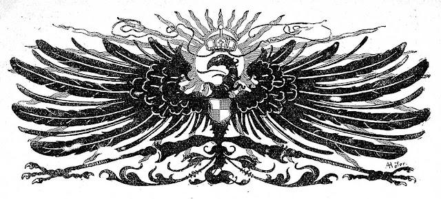 an 1898 German eagle pen drawing