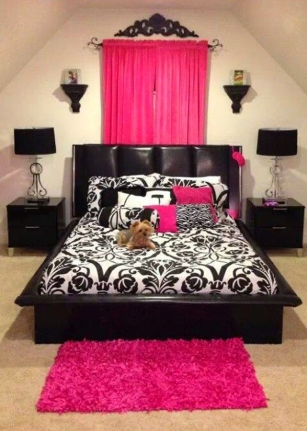 habitación en rosa y negro