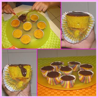 Cupcake de cenoura com calda de brigadeiro