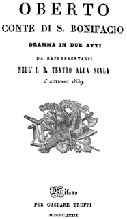 The title page of the libretto for the opera's debut season in Milan