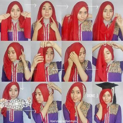 Tutorial Hijab Pashmina buat Kebaya dan Wisuda Foto Full Step