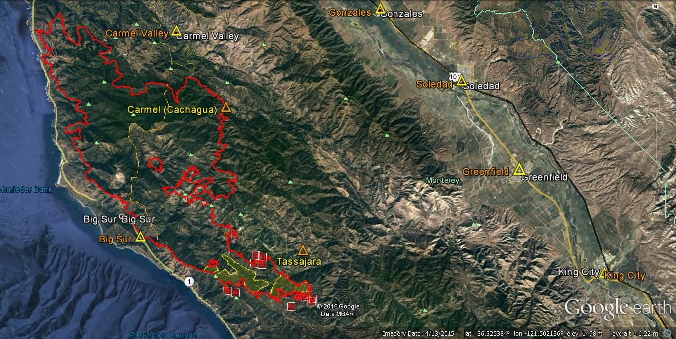 ir flight heat intensities from the previous night are identified areas of intense heat not seen and are red shaded areas behind modis red squares dots