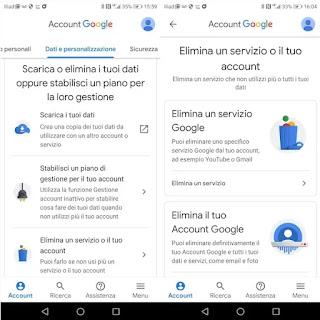 Rimuovere altri servizi da Account Google
