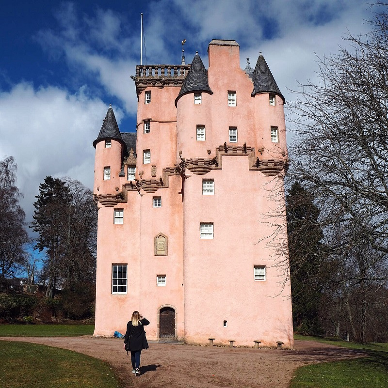 Looking up at Craigiever - the pink castle in Aberdeenshire