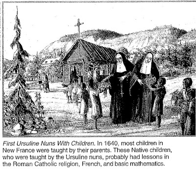 Ursuline nuns with children in New France