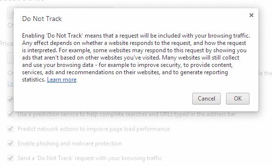 Do Not Track in Google Chrome
