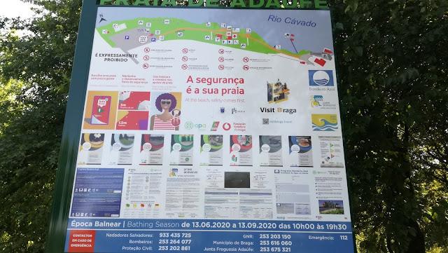 Placa informação da Praia de Adaúfe
