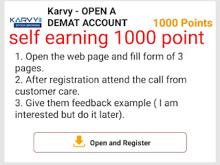 HOW TO MAKE A ACCOUNT IN KARVY OPEN A DEMAT  ACOUNT  CHAMP CASH ME KAERVY KA OFFER COMPLETE KAR K 1000 POINT KA INCOME KAISE KARE