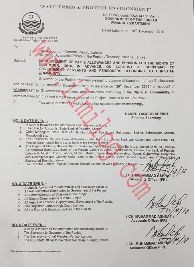 Punjab Advance Payment and Pension Disbursement Notification