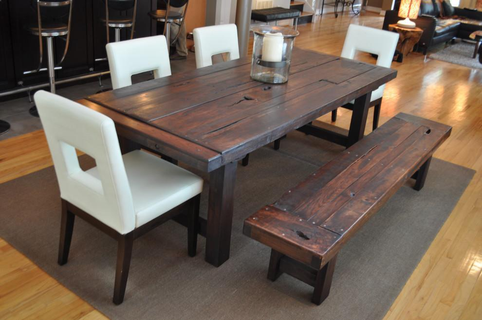 √√ Rustic KITCHEN Table with Bench Seating | Kitchen ...