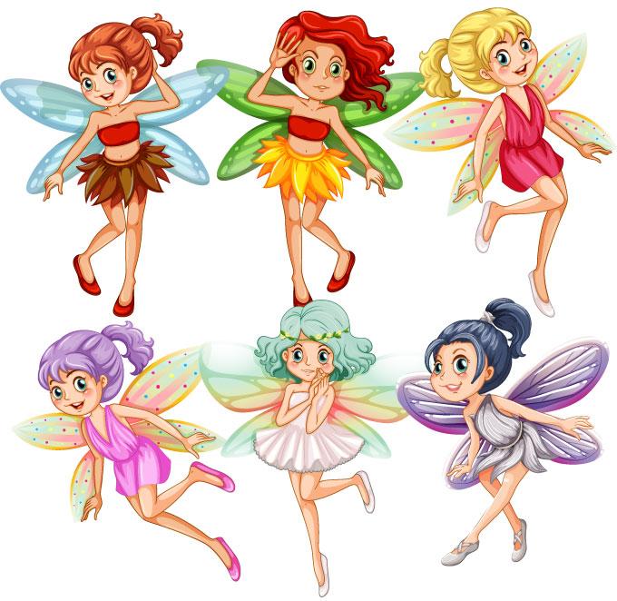 Seis niñas niñas hadas vestidas de distinto color y en varias postura