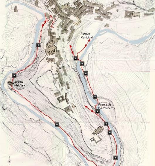 mapa del paseo fluvial de Albarracín
