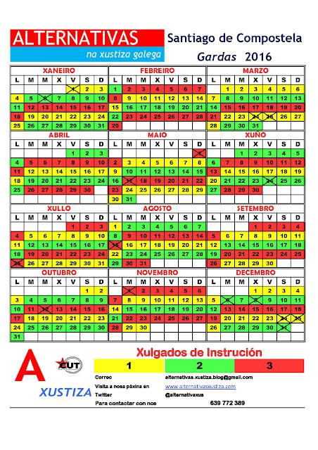 Santiago. Calendario de gardas 2016