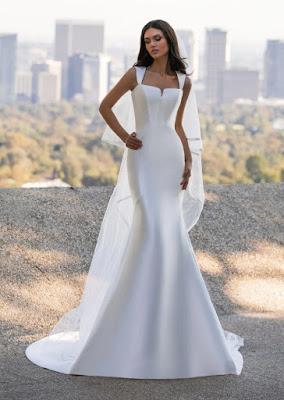 Mermaid Pronovias Bridal dress in mikado with the neckline in Us