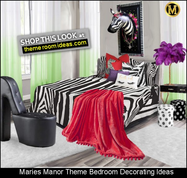 zebra bedding  Zebra Trophy Wall Mount High heel Shoe Chair  Feather Table Lamp