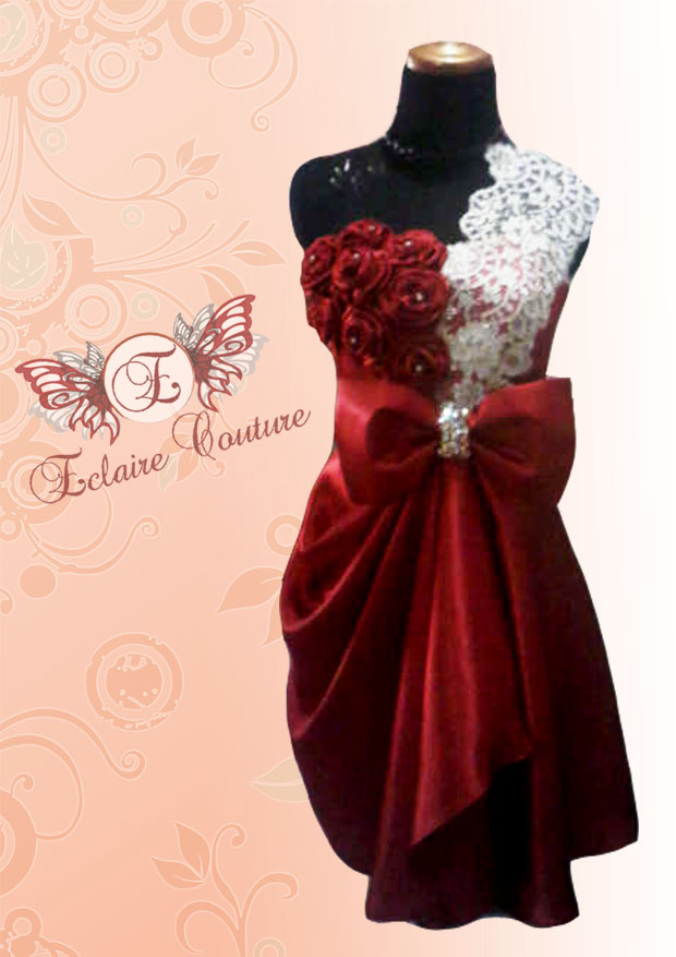 Eclaire Couture: Red Rose Cocktail Dress (for Rent)