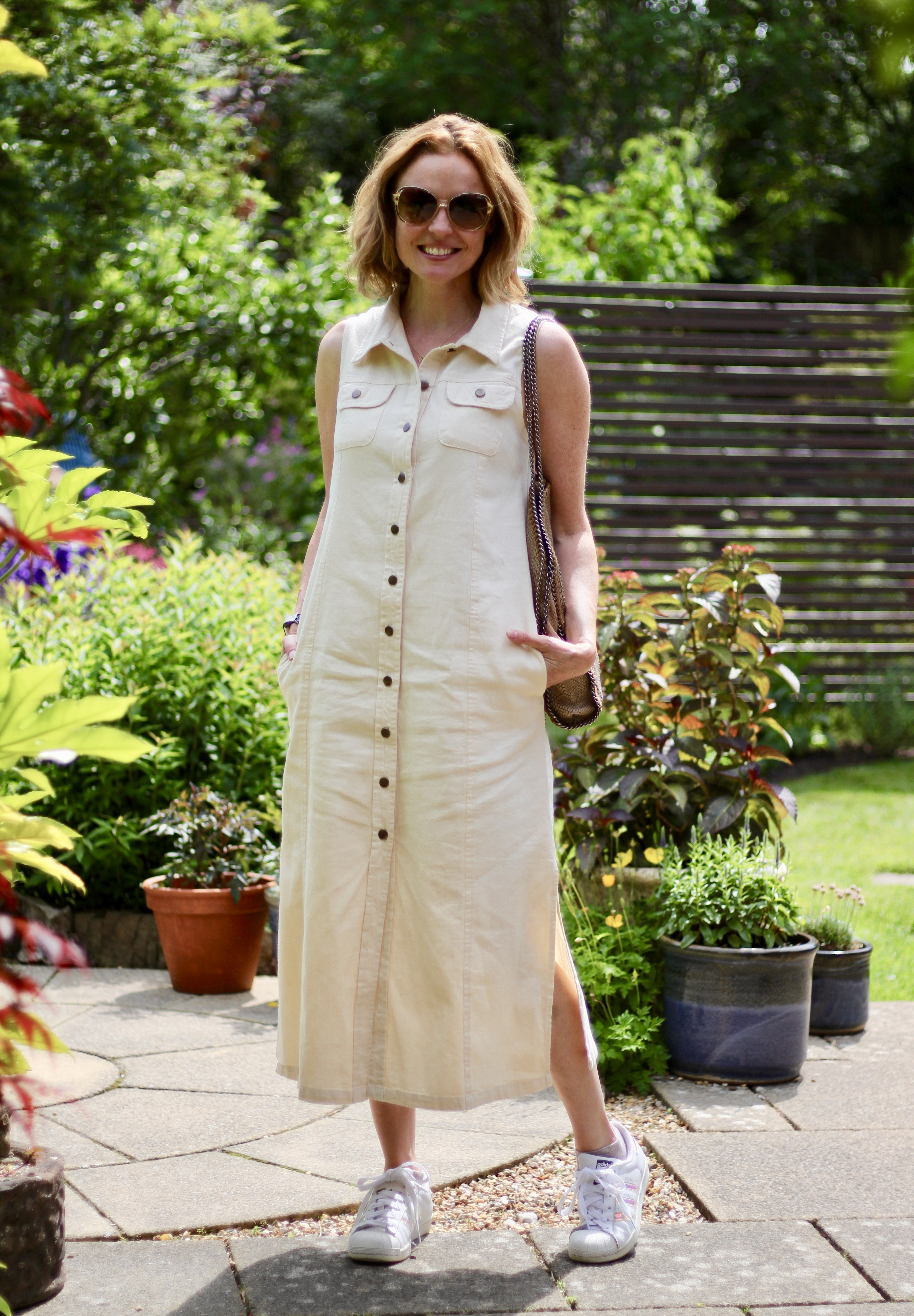 Cream Denim Maxi Dress | Fake Fabulous