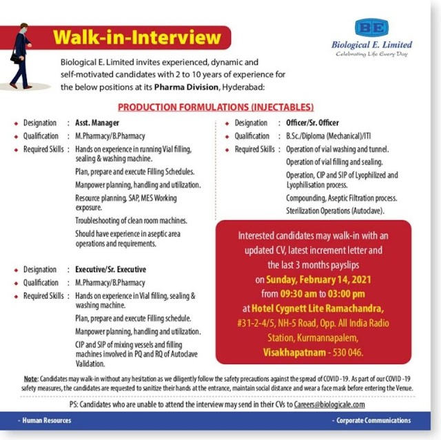 Biological E | Walk-in interview for Production on 14th Feb 2021