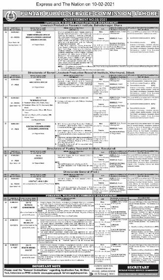 PPSC Jobs Advertisement 03 2021 | Officer Vacancies