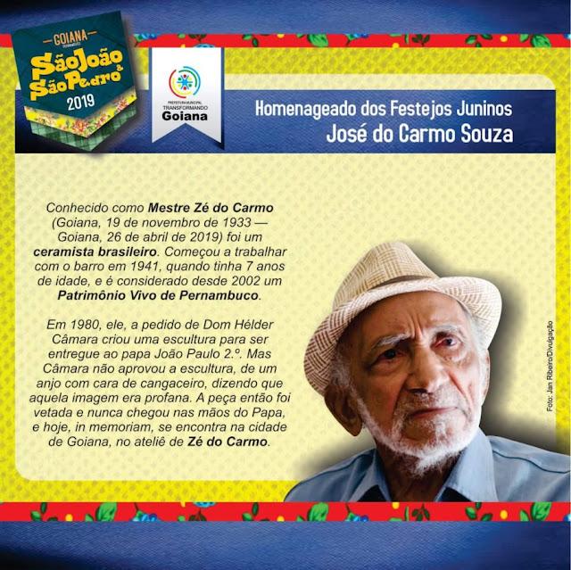 Mestre Zé do Carmo será homenageado durante Festejos Juninos de Goiana
