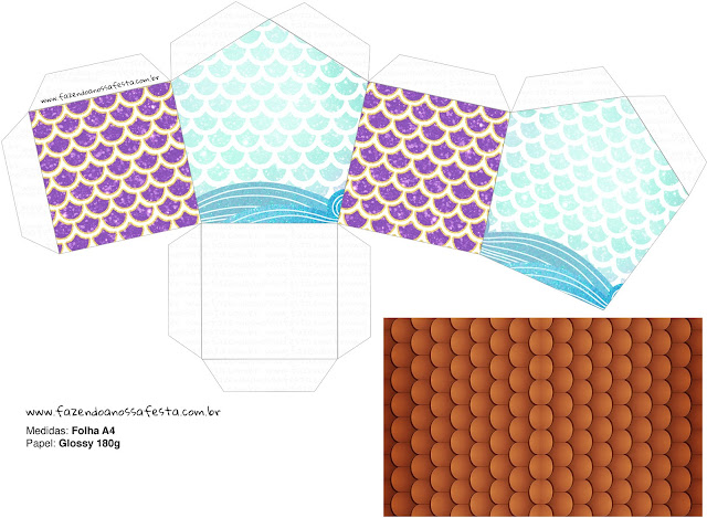 Mermaid: Free Printable House Shaped Box.