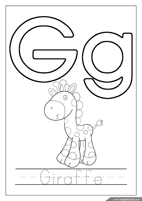 Alphabet coloring page, letter g coloring, g is for giraffe