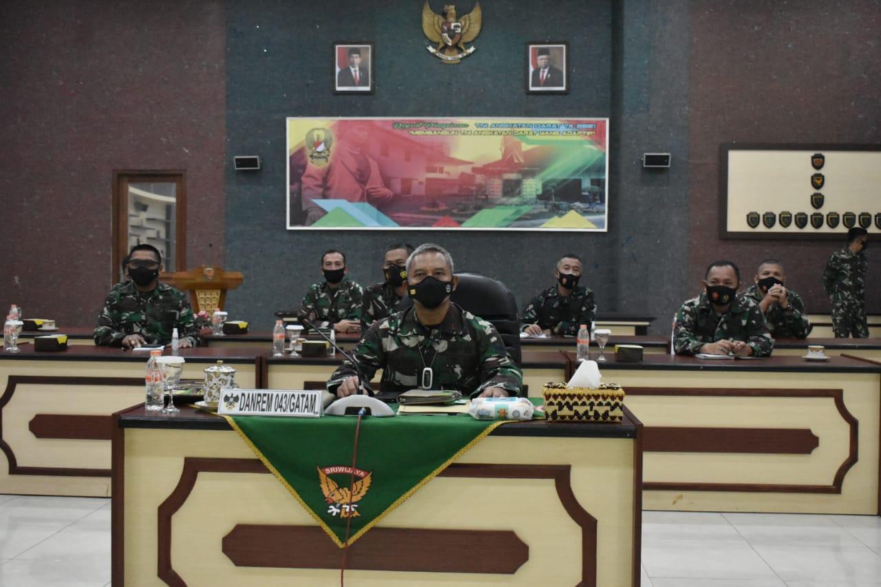 Danrem 043Gatam Ikuti Rapim TNI AD TA 2021.