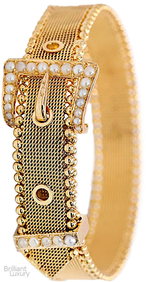 Brilliant Luxury♦Unique Edwardian style antique 14k yellow gold mesh bracelet from 1900-1910. It features pearls and a moveable buckle loop to fasten the end.