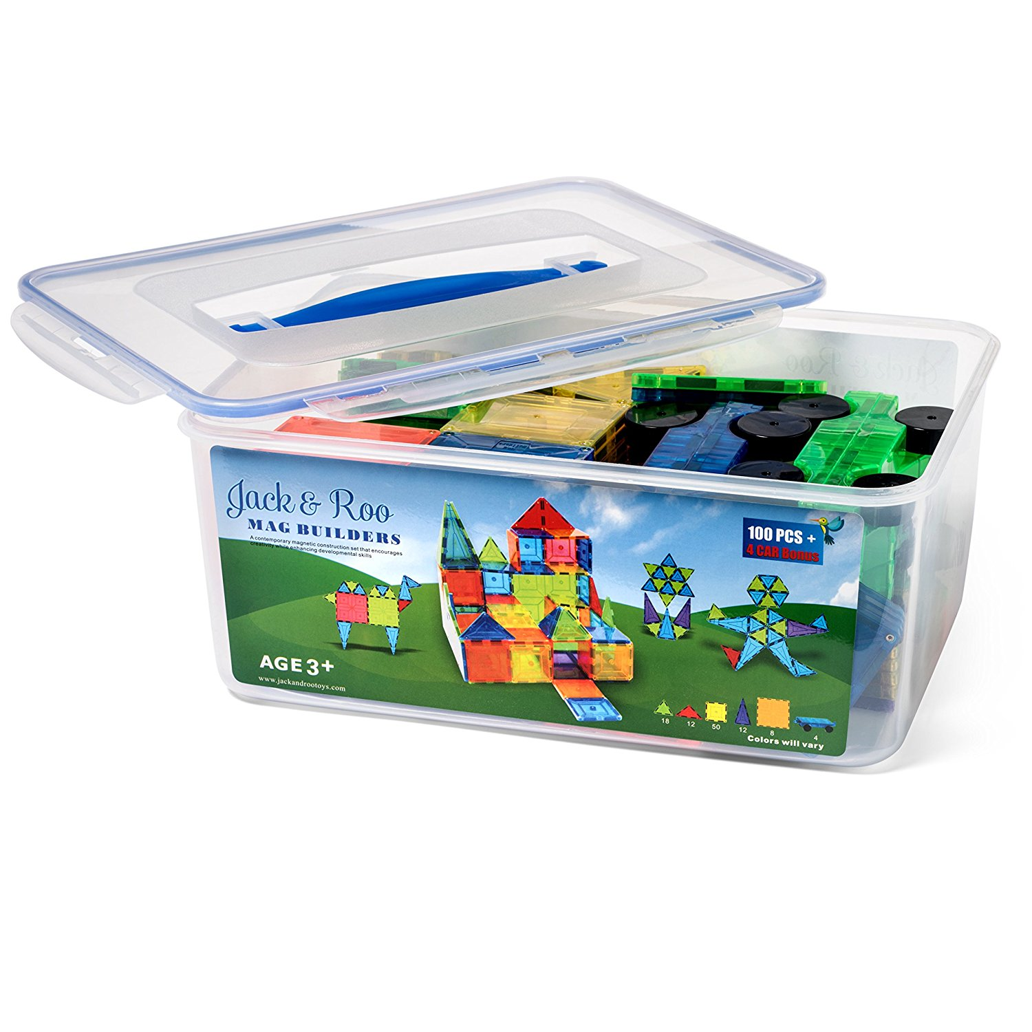 #Giveaway Holiday Guide: Jack & Roo Mag Builders 104-Piece Magnetic Tiles with Storage Case