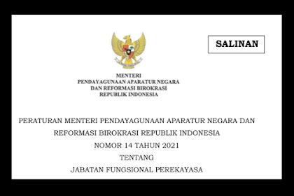 Jabatan Fungsional Perekayasa Sesuai Permenpan RB no 14 Tahun 2021