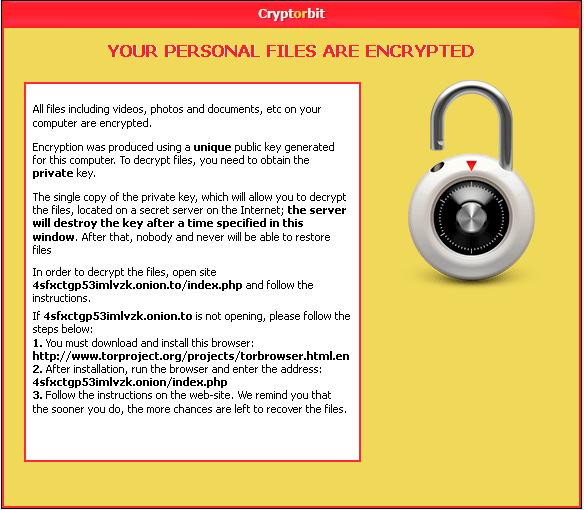CryptorBit Ransoware that scam for Ransom money with fake Decryption Keys