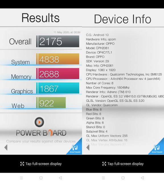 Benchmark Basemark OS II Oppo A52