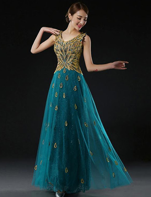 Blue peacock wedding new dresses & Bridal gowns for girls