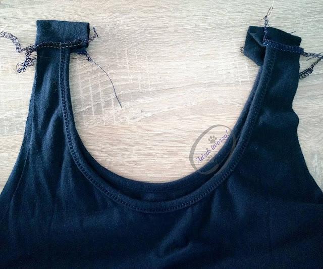 Przedłużanie za krótkiej sukienki w ramionach DIY - Adzik tworzy